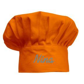 Bestickte Kochmütze für Kinder orange