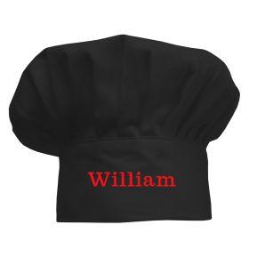 Bestickte Kochmütze für Kinder schwarz