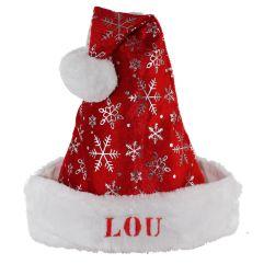 Kinder-Weihnachtsmütze Schneeflocken mit Name