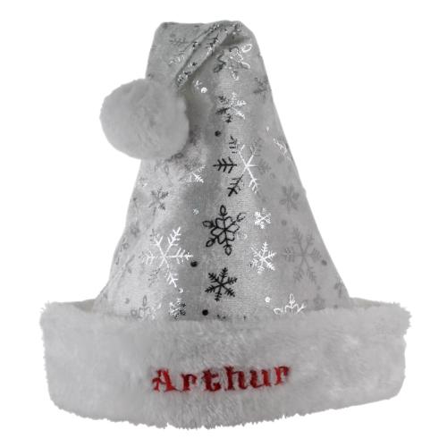 Kinder-Weihnachtsmütze Schneeflocken mit Name silber