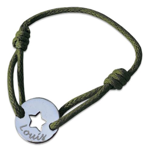 Kinderarmband Ajour-Stern mit Gravur grün