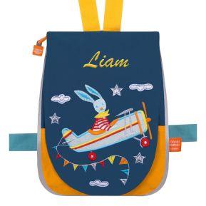 Kindergartentasche Fliegerhase mit Name