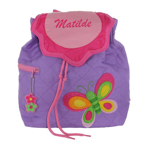 Kinderrucksack violett Schmetterling mit Name