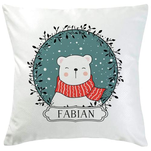 Weihnachtskissen Eisbär türkis