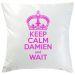 Kissen Keep Calm personalisiert fuchsia