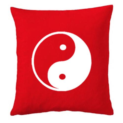 Personalisiertes Kissen rot Yin Yang
