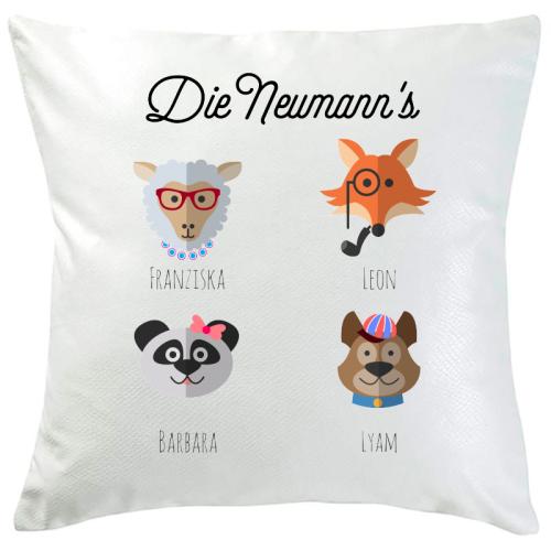 Personalisiertes Kissen tierische Familie 4 Namen
