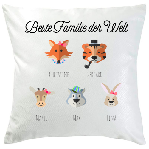 Personalisiertes Kissen tierische Familie 5 Namen