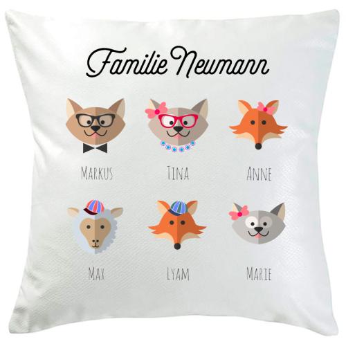 Personalisiertes Kissen tierische Familie 6 Namen