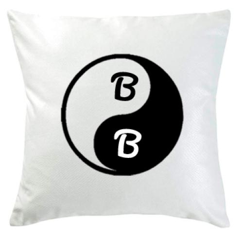 Personalisiertes Kissen weiß Yin Yang
