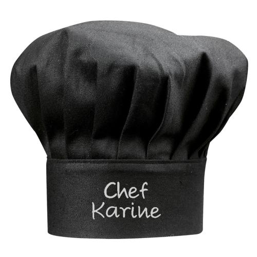 Kochmütze schwarz mit Name