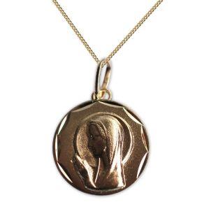Vergoldetes Taufmedaillon Jungfrau Maria im Gebet mit Gravur