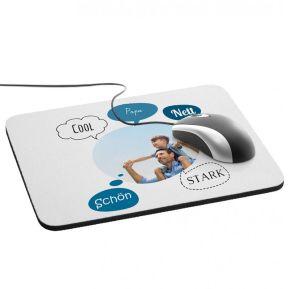 Mousepad mit Sprechblasen und Foto