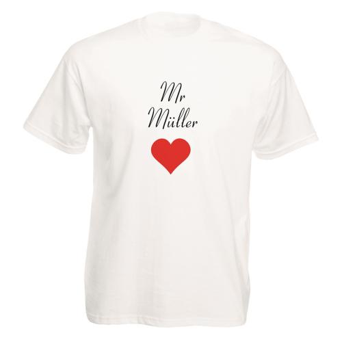 T-Shirt 2er Set mit Namen Herzmotiv Mr.