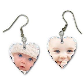 Ohrhänger in Herzform mit Foto