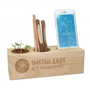 Gravierter Schreibtisch-Organizer mit Pflanze zum Aufziehen