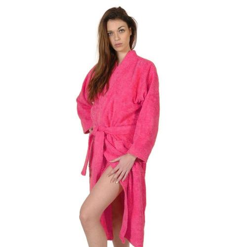 Bestickter Kimono Bademantel Rosa für Frauen