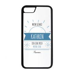 Personalisierte Handyschale mit einer sonnigen Nachricht