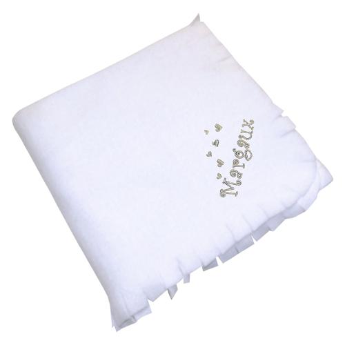 Personalisierte Fleece-Decke für Kinder weiß