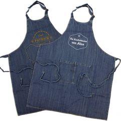 Personalisierte Jeans Schürze mit Label