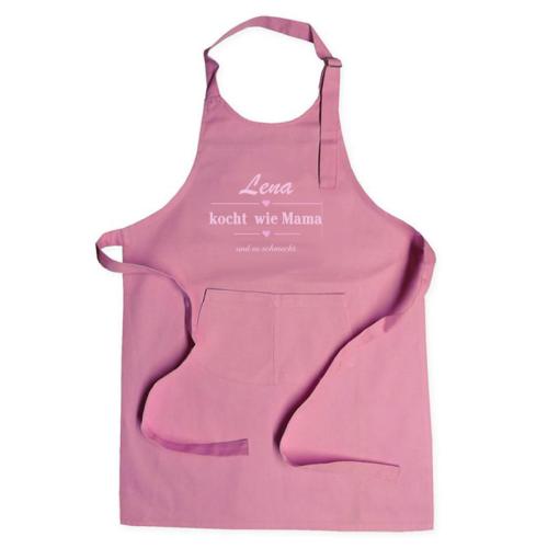 Personalisierte Kinderschürze Label rosa
