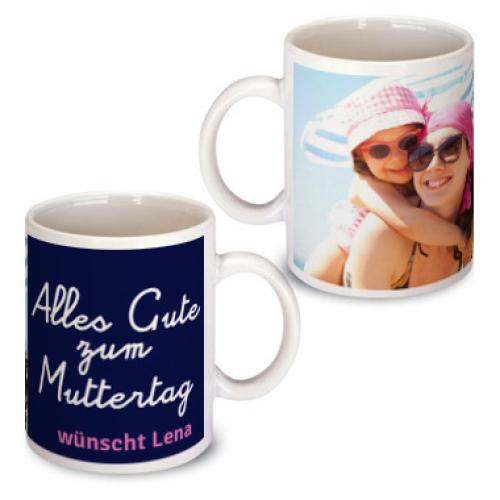 Personalisierte Tasse zum Muttertag blau