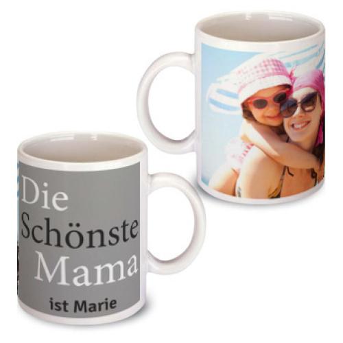 Personalisierte Tasse zum Muttertag grau