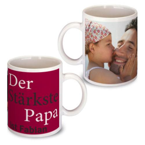 Personalisierte Tasse zum Vatertag bordeauxrot