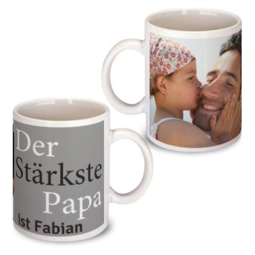 Personalisierte Tasse zum Vatertag grau