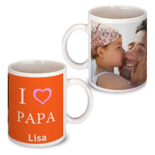 Personalisierte Tasse zum Vatertag orange