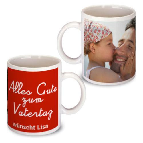 Personalisierte Tasse zum Vatertag rot
