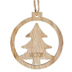 Personalisierte Weihnachtskugel aus Holz Tannenbaum mit Namensgravur