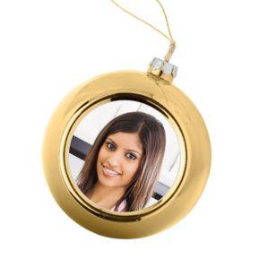 Personalisierte Weihnachtskugel gold mit Foto