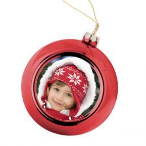 Personalisierte Weihnachtskugel rot mit Foto