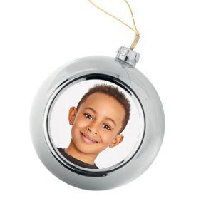 Personalisierte Weihnachtskugel silber mit Foto