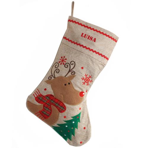 Personalisierte Weihnachtssocke aus Leinen Rentier