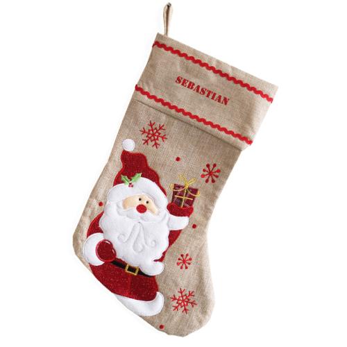 Personalisierte Weihnachtssocke aus Leinen Weihnachtsmann
