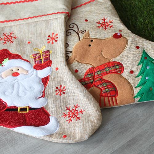 Personalisierte Weihnachtssocke aus Leinen