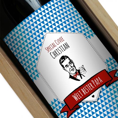 Personalisierte Weinflasche Label blau