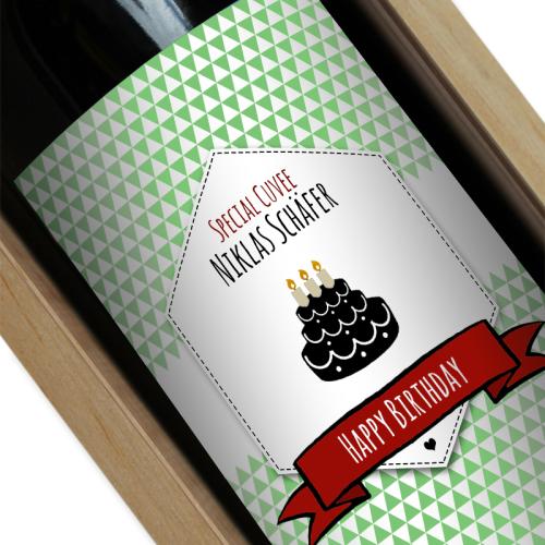 Personalisierte Weinflasche Label grün