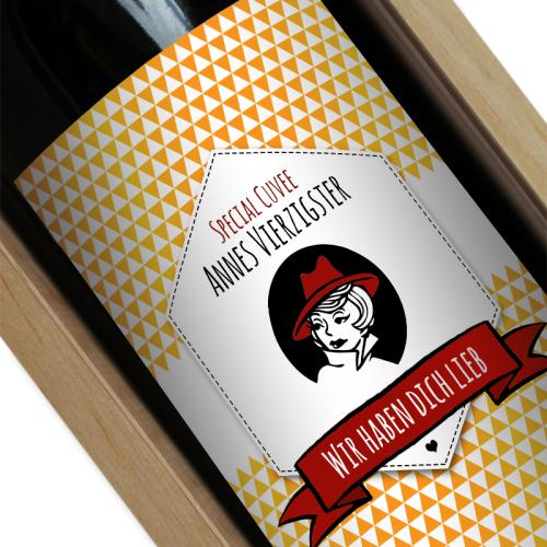 Personalisierte Weinflasche Label orange