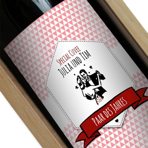 Personalisierte Weinflasche Label rosa