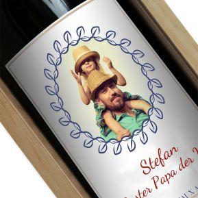 Personalisierte Weinflasche mit Foto Lorbeer