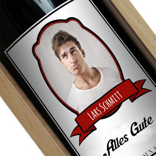 Personalisierte Weinflasche Wappen mit Foto