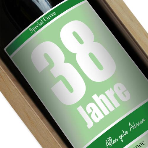 Personalisierte Weinflasche zum Geburtstag grün