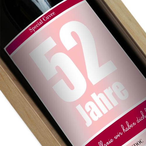 Personalisierte Weinflasche zum Geburtstag rosa