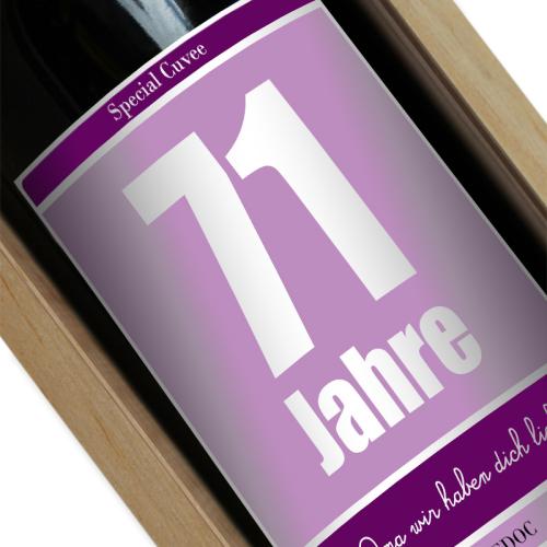 Personalisierte Weinflasche zum Geburtstag violett