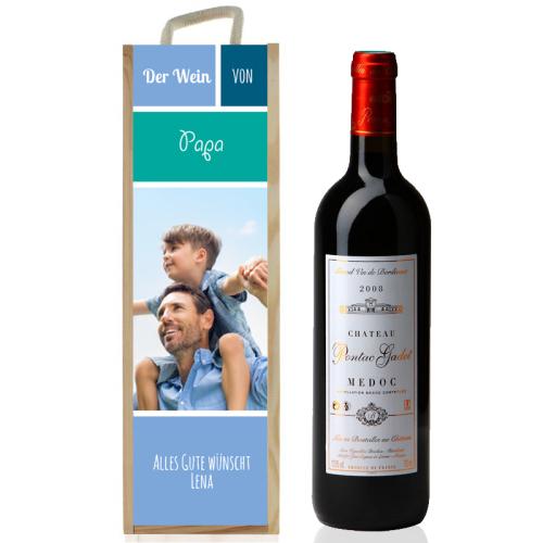 Personalisierte Weinkiste mit Foto blau