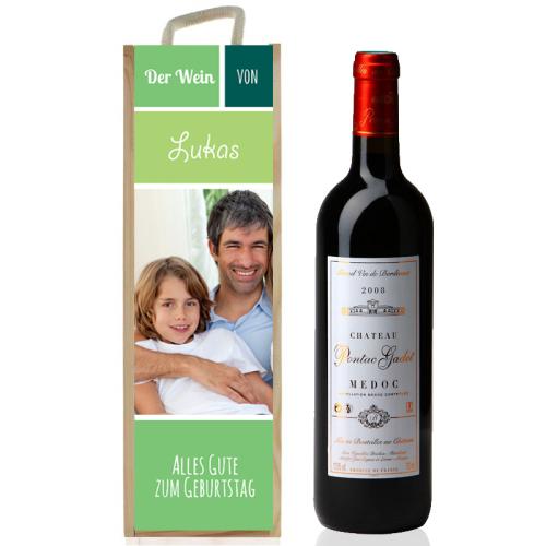 Personalisierte Weinkiste mit Foto grün