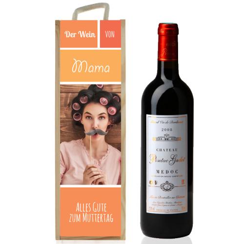 Personalisierte Weinkiste mit Foto orange